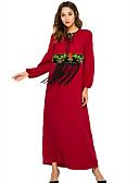 cheap Arabian Clothing-Women's Basic Sheath Dress - Geometric Red L XL XXL