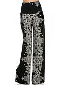 Χαμηλού Κόστους Πλατύ Πόδι-Γυναικεία Βασικό Πλατύ Πόδι Παντελόνι - Στάμπα Μαύρο