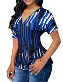 halpa T-paita-Naisten V kaula-aukko Ohut Raidoitettu Pluskoko - T-paita Apila