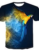 זול טישרטים לגופיות לגברים-3D / חיה צווארון עגול טישרט - בגדי ריקוד גברים דפוס כחול ים