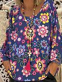 abordables Robes Imprimées-Chemisier Grandes Tailles Femme, Fleur Col en V Rose Claire XXXL