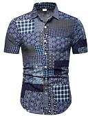 levne Pánské košile-Pánské - Pléd / Etno Košile Štíhlý Námořnická modř / Krátký rukáv