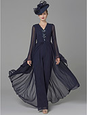cheap Evening Dresses-Jumpsuits V Neck Floor Length Georgette Mother of the Bride Dress with Beading / Draping by LAN TING BRIDE® / Sparkle & Shine