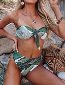رخيصةأون البيكينيات-أخضر S M L ورد, ملابس السباحة ثلاثة قطع عالي الخصر أخضر بوهو نسائي