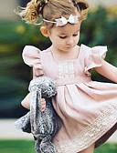 preiswerte Kleider für Mädchen-Baby Mädchen Alltag Patchwork Rüsche Patchwork Ärmellos Kunstseide Kleid Rosa / Niedlich