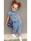 billige Pigekjoler-Børn / Baby Pige Vintage / Basale Ensfarvet Bomuld / Polyester Overall og jumpsuit Blå