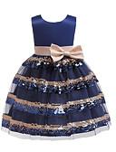 お買い得  女児 ドレス-子供 / 幼児 女の子 活発的 / 甘い パッチワーク スパンコール / リボン / パッチワーク ノースリーブ コットン / ポリエステル ドレス ネイビーブルー