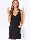 저렴한 여성 드레스-여성용 시프트 드레스 무릎 위 딥 V