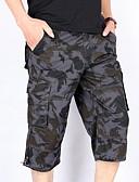 Недорогие Мужские брюки и шорты-Муж. Уличный стиль Шорты Брюки - С принтом Белый Серый XXXL XXXXL XXXXXL