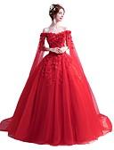 preiswerte Abendkleider-Ballkleid Schulterfrei Boden-Länge Tüll Kleid mit Perlenstickerei / Paillette / Applikationen durch LAN TING Express