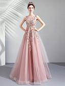 povoljno Maturalne haljine-A-kroj Ovalni izrez Do poda Til Haljina s Perlica / Šljokice / Aplikacije po LAN TING Express