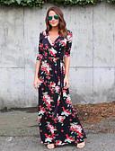 abordables Robes Grandes Tailles-Femme Bohème Maxi Courte Gaine Balançoire Robe - Lacet Imprimé Noir Rose Claire L XL XXL Demi Manches