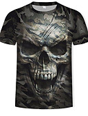 povoljno Muške majice i potkošulje-Majica s rukavima Muškarci Pamuk 3D / Lubanje / kamuflaža Okrugli izrez Print Vojska Green
