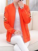 cheap Women's Coats & Trench Coats-Women's Daily Basic Spring &  Fall Short Fur Coat, Plants Stand Long Sleeve Cotton Embroidered Green / Orange / Red XXL / XXXL / XXXXL