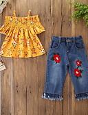 povoljno Kompletići za djevojčice-Djeca Dijete koje je tek prohodalo Djevojčice Aktivan Osnovni Cvjetni print Rese Print Kratkih rukava Regularna Pamuk Komplet odjeće žuta
