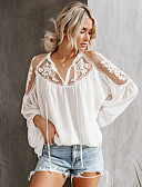 cheap Women's T-shirts-Women's Shirt - Solid Colored Lace White M
