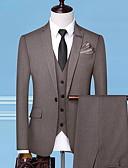 povoljno Smokinzi-Muškarci Veći konfekcijski brojevi odijela Klasični rever Poliester Crn / Sive boje / Svjetlosmeđ / Slim
