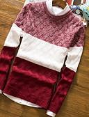 저렴한 남성 스웨터 & 가디건-남성용 컬러 블럭 긴 소매 풀오버, 라운드 넥 블랙 / 네이비 블루 / 와인 L / XL / XXL