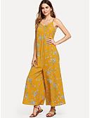 cheap Women's Jumpsuits & Rompers-Women's Boho Yellow Jumpsuit, Floral Print M L XL
