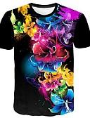 povoljno Muške majice i potkošulje-Veći konfekcijski brojevi Majica s rukavima Muškarci Cvjetni print / 3D / Grafika Okrugli izrez Print Crn
