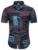 """זול חולצות לגברים-קולור בלוק / גראפי / שבטי צווארון קלאסי פאנק & גותיות מועדונים האיחוד האירופי / ארה""""ב גודל חולצה - בגדי ריקוד גברים דפוס שחור / שרוולים קצרים"""