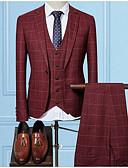 זול חליפות-בורגנדי / שחור / כחול נייבי מְשׁוּבָּץ גזרה צרה פוליאסטר חליפה - פתוח Single Breasted One-button
