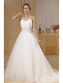 levne Svatební šaty-A-Linie Bateau Neck Extra dlouhá vlečka Šifón / Tyl Svatební šaty vyrobené na míru s Korálky / Sklady podle ANGELAG