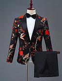 preiswerte Anzüge-Mit Mustern Schlanke Passform Polyester Anzug - Steigendes Revers Einreiher - 1 Knopf