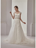 cheap Wedding Dresses-A-Line Sweetheart Neckline Court Train / Cathedral Train Lace / Tulle / Sequined Made-To-Measure Wedding Dresses with Beading / Appliques / Lace by ANGELAG