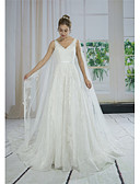 cheap Wedding Dresses-A-Line V Neck Sweep / Brush Train Lace / Tulle / Sequined Made-To-Measure Wedding Dresses with Appliques / Lace / Sashes / Ribbons by ANGELAG