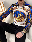 abordables Camisas de Hombre-Hombre Talla EU / US Estampado Camisa Animal / Tribal Azul Piscina L / Manga Larga