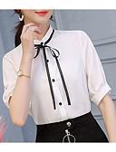 abordables Robes Femme-Chemisier Femme, Couleur Pleine Blanc L