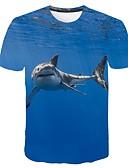hesapli Erkek Tişörtleri ve Atletleri-Erkek Yuvarlak Yaka Tişört Desen, 3D / Grafik / Hayvan Büyük Bedenler Havuz