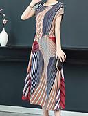 abordables Robes Femme-Femme Midi Balançoire Robe Arc-en-ciel XL XXL XXXL Manches Courtes