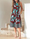 abordables Robes de Travail-Femme Basique Midi Gaine Robe Géométrique Bleu Rouge XXXL XXXXL XXXXXL Sans Manches