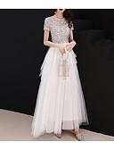 זול שמלות שושבינה-גזרת A עם תכשיטים עד הריצפה טול / נצנצים שמלה עם נצנצים / שכבות על ידי LAN TING Express