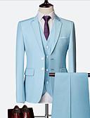 זול חליפות-כחול סקיי / אודם / כחול ים אחיד גזרה צרה ניילון / Chinlon חליפה - פתוח Single Breasted Two-button