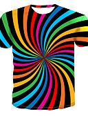 halpa Miesten t-paidat ja hihattomat paidat-Miesten Pyöreä kaula-aukko Painettu Color Block / 3D / Kuvitettu Katutyyli / Punk & Goottityyli Pluskoko - T-paita Sateenkaari XXXXL