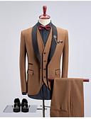 זול חליפות-ירוק כהה / חאקי / כחול ים אחיד גזרה צרה כותנה חליפה - צווארון צעיף (שאל) Single Breasted One-button