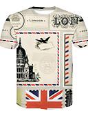 olcso Póló-Alap Kerek Férfi EU / USA méret Póló - 3D, Nyomtatott Fehér XL / Rövid ujjú