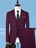 זול חליפות-שחור / כחול נייבי / אפור אחיד גזרה מחוייטת פוליאסטר חליפה - פתוח Single Breasted One-button