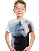 halpa Tyttöjen mekot-Lapset Taapero Poikien Aktiivinen Perus Geometrinen Painettu Lyhythihainen Polyesteri Spandex T-paita Valkoinen