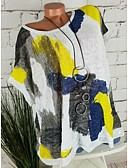 halpa Paita-Naisten Löysä Paljetti / Patchwork / Painettu Kuvitettu / Tribaali Perus Pluskoko - Paita Valkoinen
