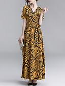 Недорогие Кварцевые часы-Жен. Изысканный Элегантный стиль А-силуэт С летящей юбкой Платье - Леопард, Пэчворк С принтом Макси