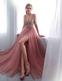 preiswerte Abendkleider-A-Linie Tiefer Ausschnitt Pinsel Schleppe Chiffon / Tüll Offener Rücken Formeller Abend Kleid mit Perlenstickerei / Kristall Verzierung durch LAN TING Express