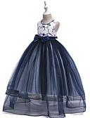 זול קאפוצ'ונים וטרנינגים לבנים-שמלה מקסי ללא שרוולים חרוזים / פפיון / רשת קולור בלוק וינטאג' / מתוק בנות ילדים / רקום