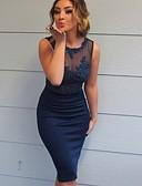 abordables Vestidos de Mujer-Mujer Básico Corte Bodycon Vestido - Encaje, Un Color Hasta la Rodilla
