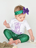 זול אוברולים טריים לתינוקות-סט של בגדים כותנה קצר שרוולים קצרים דפוס פעיל / בסיסי בנות תִינוֹק / פעוטות