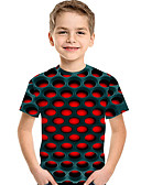 hesapli Kız Çocuk Üstleri-Çocuklar Toddler Genç Erkek Actif Temel Geometrik Desen Desen Kısa Kollu Tişört YAKUT
