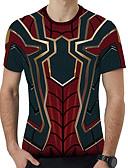 billige T-shirts og undertrøjer til herrer-Herre - Geometrisk / 3D / Tegneserie Trykt mønster T-shirt Vin XXXL